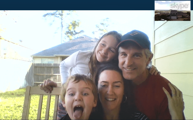 The Yolles-Young family, pictured via Skype in front of their backyard in The Woodlands, Texas, have settled into a new life far from Honolulu.