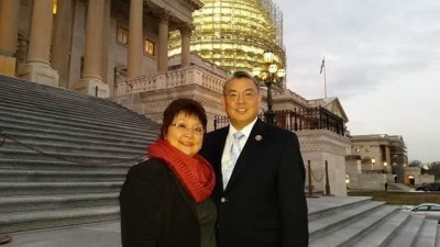 Naomi Takai with her son, Rep. Mark Takai, on the steps of Capitol Hill.