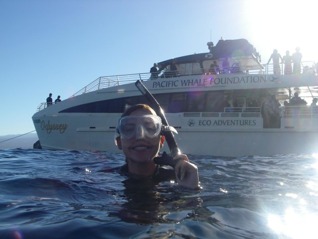 A snorkeler smiles on a Pacific Whale Foundation tour to Molokini Crater.