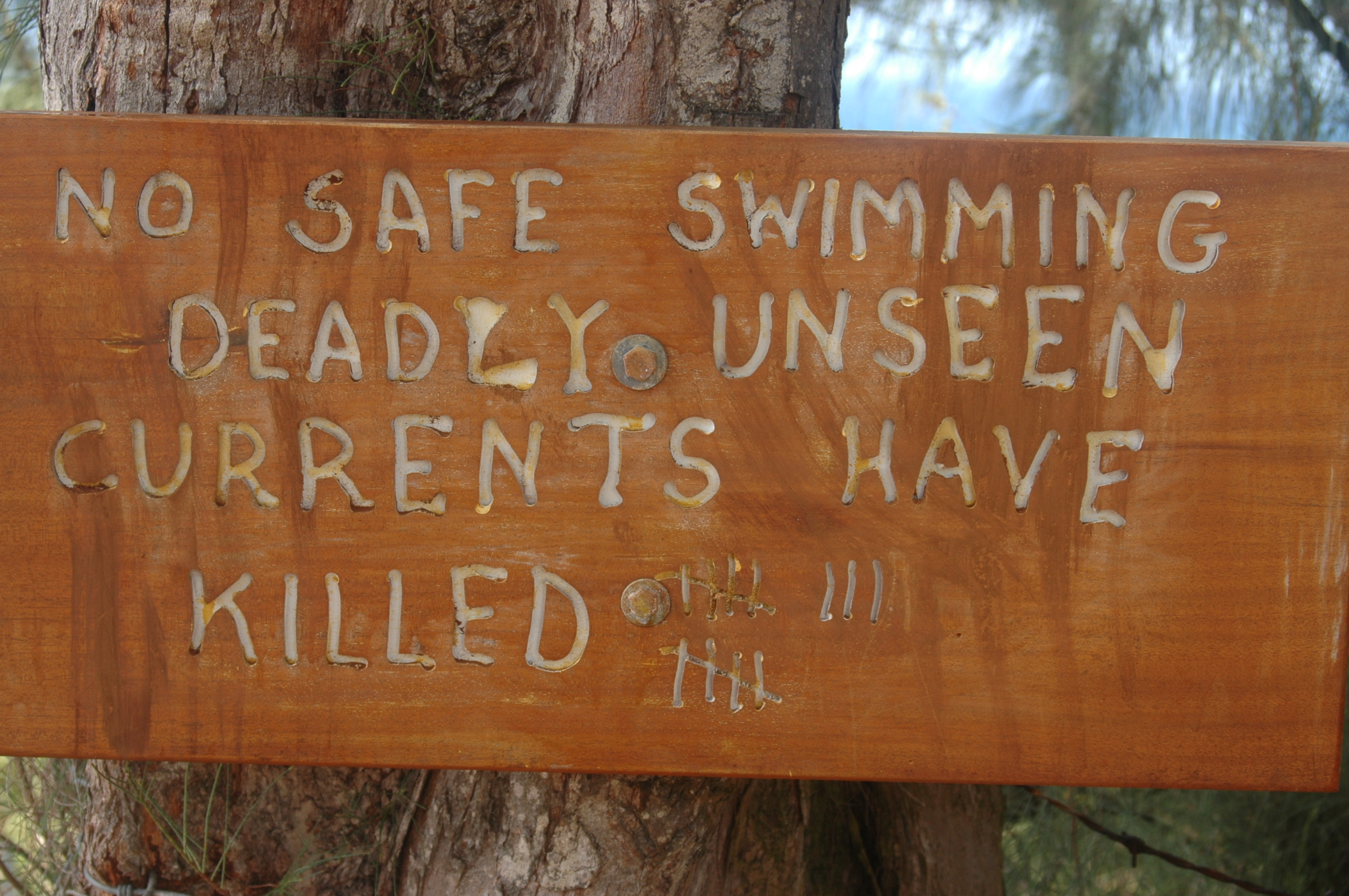 <p>A homemade sign informs visitors how many people have died swimming at Hanakapiai Beach on the north shore of Kauai.</p>