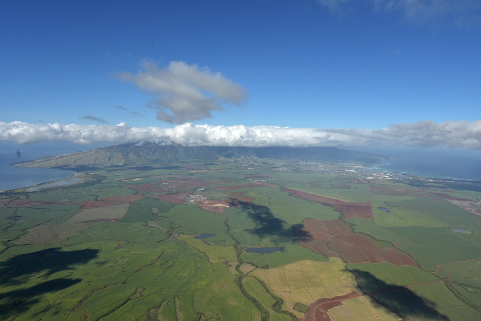 An aerial view of the 36,000-acre sugar plantation owned by Alexander & Baldwin on Maui.