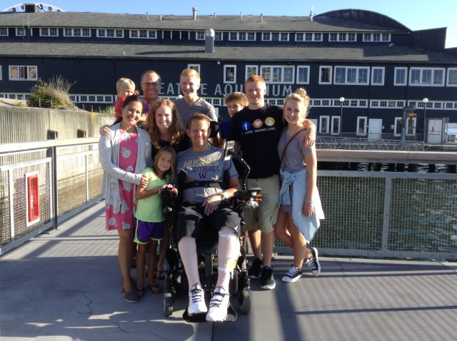 Todd Duitsman, pictured here with his family in Seattle in 2014, was paralyzed when he dove head-first into a wave at Makena Beach on Maui.