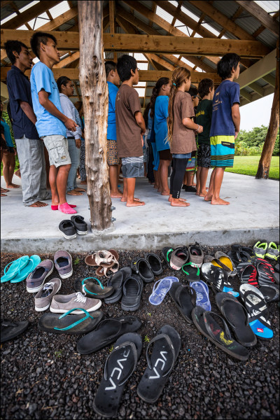 Students during morning opening protocol at the Ka 'Umeke Ka'eo charter school in Hilo HI.