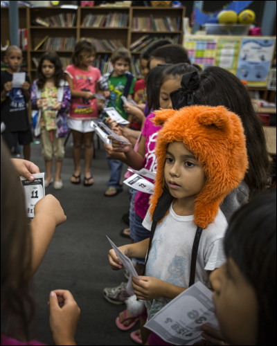 Elementary students in class at Connections public charter school located the Kress building in downtown Hilo, HI