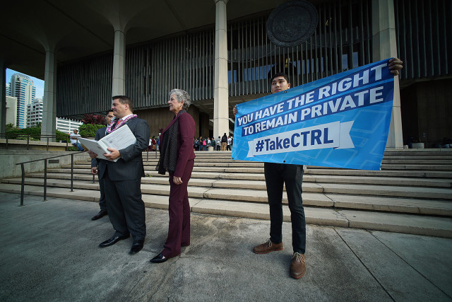 State Rep. Matt LoPresti, left, wants better privacy protections for Hawaii citizens, and is working with the ACLU on several measures to do so.