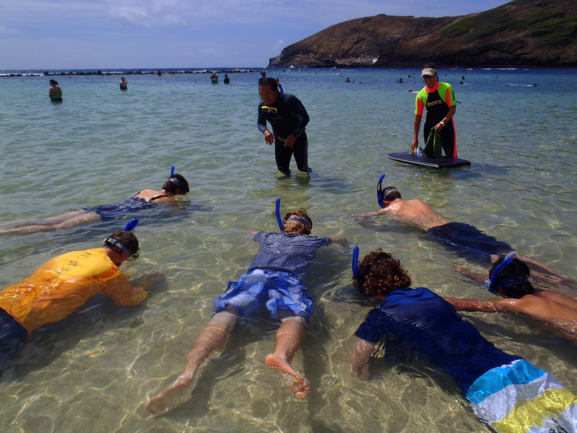 Age and pre-existing heart conditions are common traits among drowning victims. Alan Hong teaches a group how to snorkel at Hanauma Bay.