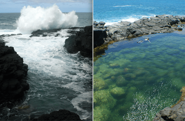 Queen's Bath, a popular slightly off-the-beaten path place to visit on the north shore of Kauai, is seen here in the winter, at left, and summer.