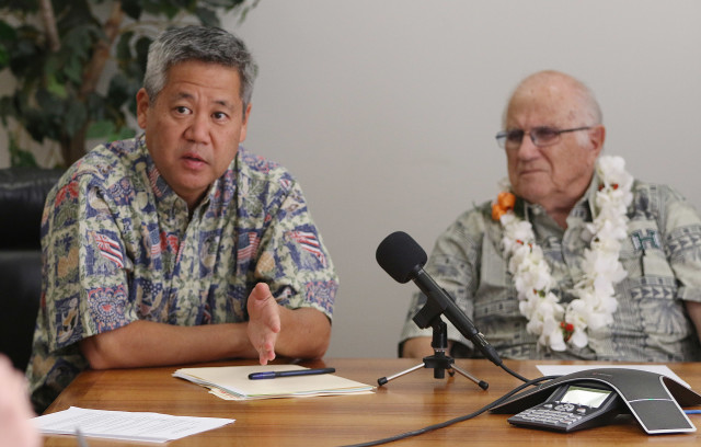 House Speaker Joe Souki, right, has been at the helm since 2012 thanks to support from Majority Leader Scott Saiki, left, and Finance Chair Sylvia Luke, not pictured, formed a coalition to oust former Speaker Calvin Say.