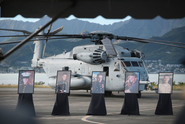 A memorial service for the 12 fallen Marines was held at the Marine Corps base in Kaneohe in January 2016..