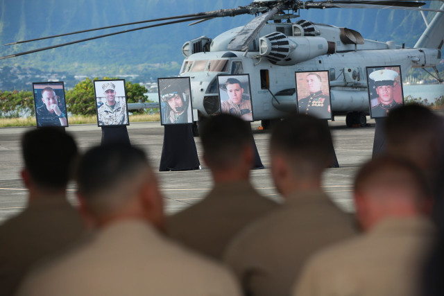 Memorial services held at Marine Corps Base Hawaii for 12 people who were killed when two CH-53 helicopters collided.