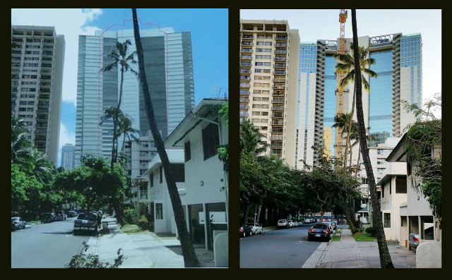 On the left, a photographic rendering shows the supposed view of the Ritz-Carlton tower from Launiu Street, as published in the Final Environmental Assessment for the project. On the right, the actual view of the Ritz-Carlton tower as seen from Launiu Street.