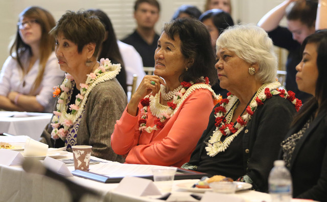 The Women's Caucus honored past legislators Barbara Marumoto, Jackie Young and Annette Amaral.