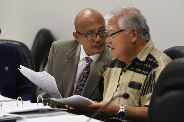Vice Chair / Sen Will Espero Chair and right, Clarence Nishihara, Public Safety, Intergovernmental Affairs and Military Affairs during committee hearing for bills.