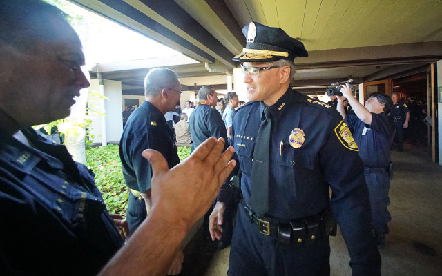 HPD Chief Louis Kealoha greetings HPD officers after promotions ceremony held at McCoy Pavillion.
