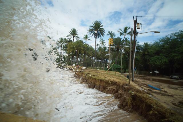 Waves pound Haleiwa Beach park.