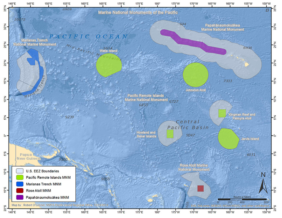 This NOAA map shows the U.S. exclusive economic zone boundaries and four marine national monuments.