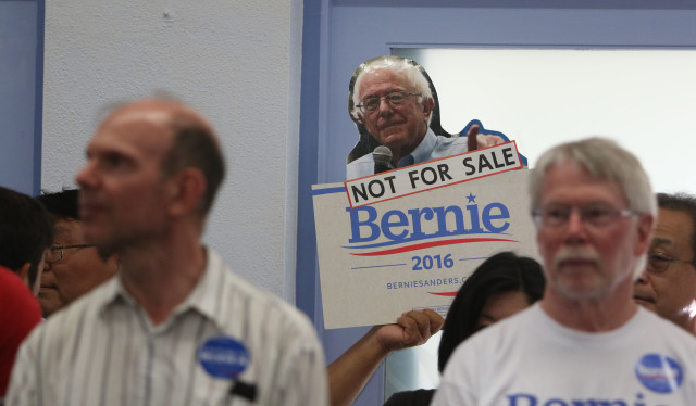 Bernie Sanders supporter sign photograph at Church of the Crossroads.