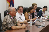 Honolulu Civil Beat Civil Cafe at the Captiol with left, Sen Russell Ruderman, CB's Chad Blair, Senator Maile Shimabukuro, League of Women Voters Janet Mason and right, Common Cause Hawaii Carmille Lim at room 414 Capitol.