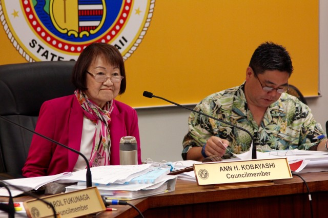 Honolulu City Councilwoman Ann Kobayashi listens during a hearing on a bill to regulate transportation network companies like Uber and Lyft, Wednesday.