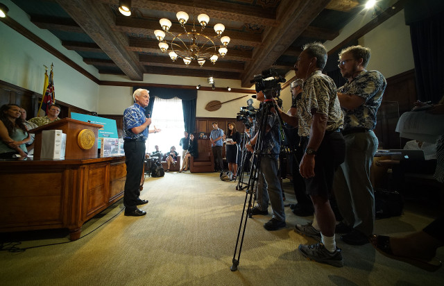 Mayor Kirk Caldwell budget press conference held at Honolulu Hale.