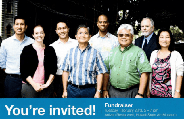 Mailers went out in February for a campaign fundraiser for House members, from left, Reps. Takashi Ohno, Nicole Lowen, Kaniela Ing, Bert Kobayashi, Justin Woodson, Richard Onishi, Richard Creagan and Sylvia Luke.