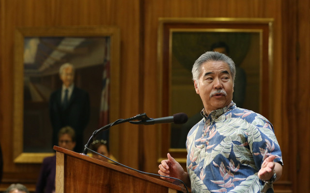 Governor David Ige during press conference on Dengue/Zika on Hawaii island. 27 april 2016