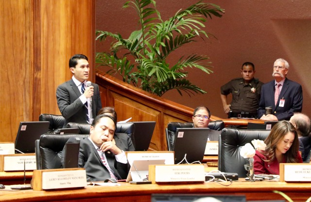 Rep. Kaniela Ing is seen here speaking on the House floor last session.