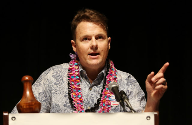 Candidate Democratic Party chair Tim Vandeveer, 2nd day of the HI State Democratic Convention. 29 may 2016.