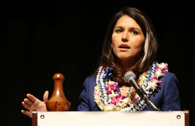 Congresswoman Tulsi Gabbard speaks on 2nd day of the HI State Democratic Convention. 29 may 2016.