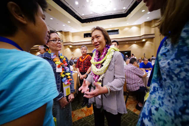 Democratic Party Chair Flo Kong Kee on 2nd day of the Hawaii State Democratic Convention. 29 may 2016.
