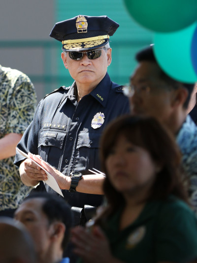 HPD Chief Louis Kealoha at HART train opening. 2 may 2016.