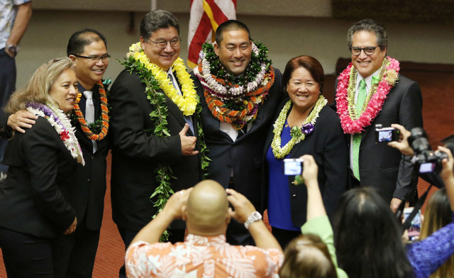Representative Derek Kawakami stands with left, Rep DeCoite, Rep James Tokioka, Senate President Ron Kouchi, Rep Dee Morikawa and right, Senator Kalani English after the Senate wrapped up, Senate President walked over to the House side. 5 may 2016.
