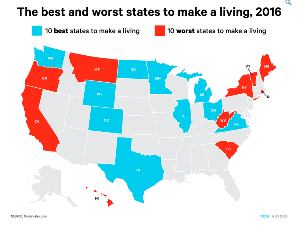 Hawaii Worst State To Make A Living