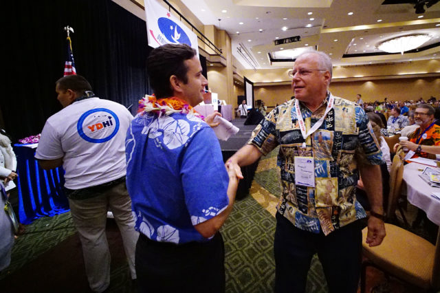Senator Brian Schatz greets Sen Russel Ruderman after speaking on the 2nd day of the Hawaii State Democratic Convention held at the Sheraton Hotel. 29 may 2016