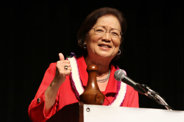Senator Mazie Hirono gestures on the State of Hawaii Democratic Convention. 29 may 2016.