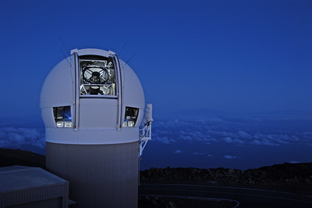 The PS1 Observatory at dawn on Haleakala, Maui. Photo by Rob Ratkowski]