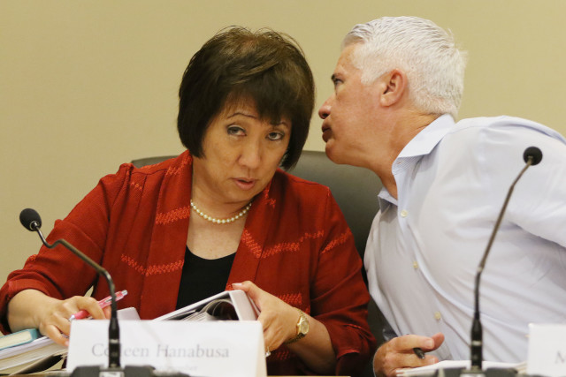 HART Board Chair Colleen Hanabusa listens to Boardmember Michael Formby1. 16 june 2016.
