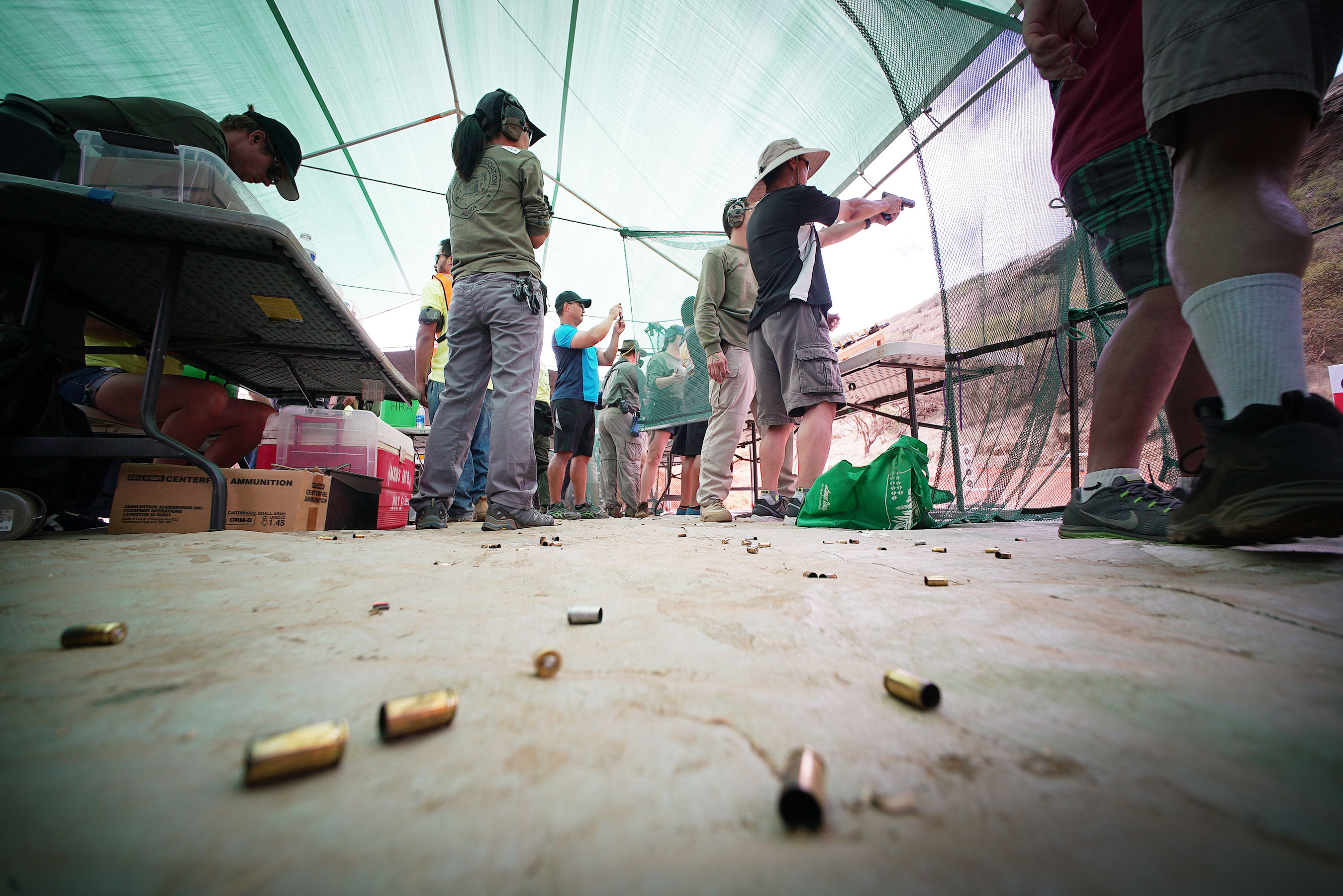 <p>Spentbullet casings littered the ground as visitors fired a variety of weapons.</p>