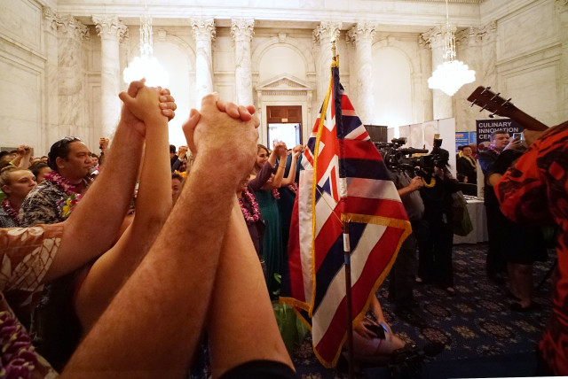 Hawaii Aloha hands embrace during Hawaii on Hill 2016. 8 june 2016