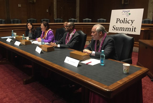 From left: The Chamber's Sherry Menor-McNamara, Sen. Hirono, Justin Tanner of the Minority Business Development Agency and Stuart Ishimaru of the Office of Equal Opportunity and Fairness, Senate Dirkson Room 366.