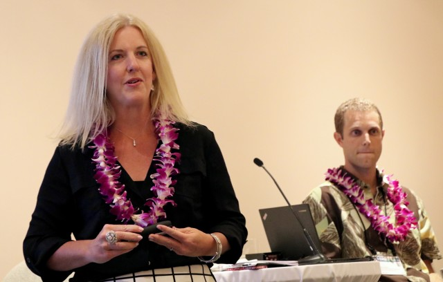 Abigail Ross Hopper, director of the U.S. Interior Department's Bureau of Ocean Energy Management, discusses offshore wind energy, Wednesday, at the VERGE Hawaii Asia Pacific Clean Energy Summit.