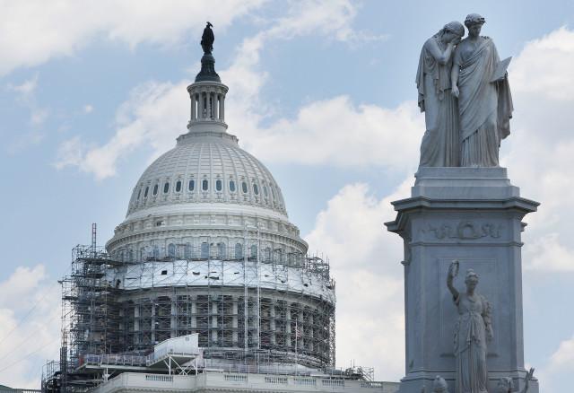 US Capitol building west side washington DC statues. 12 june 2016