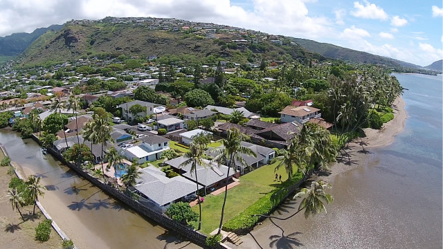 Drones can provide unique aerial views of real estate, like this oceanfront property in Aina Haina.
