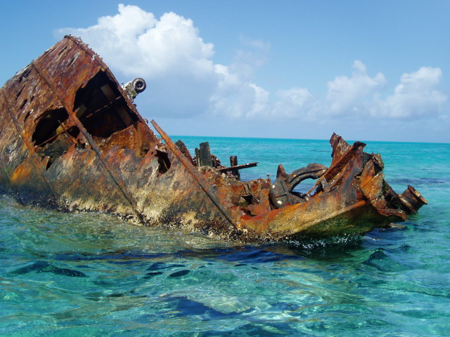 Hoei Maru shipwreck at Kure Atoll in Papahanaumokuakea Marine National Monument in the northwestern Hawaiian Islands.