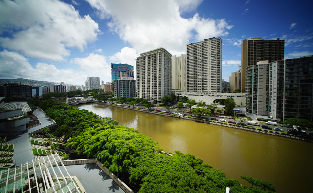Ala Wai Canal brown water after Darby. 25 july 2016