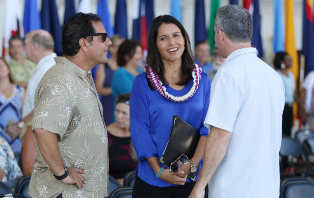 Congresswoman Tulsi Gabbard at MV22 hangar opening ceremonies held at Marine Corps Base Hawaii. 19 july 2016.