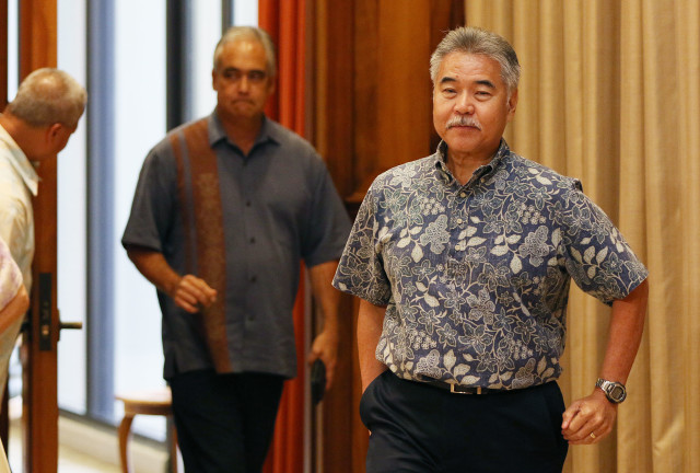 Governor David Ige presser entrance. 18 july 2016