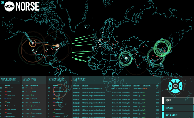 The Norsecorp. site shows real-time cyber attacks on a global scale.
