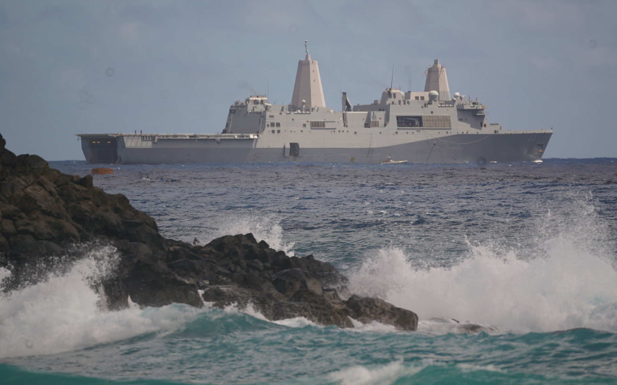 <p>The USS San Diego amphibious transport dock floats offshore Marine Corps Base Hawaii last weekend. Vessels emerged from the ship&#8217;s rear well deck to begin the assault on Pyramid Rock Beach in one of the final exercises of the 26-nation Rim of the Pacific war games.</p>