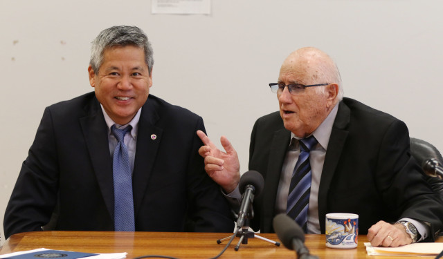Speaker Joe Souki speaks to media with left, Rep Saiki responding to Nathan's question. 'How dare you ask me that question…'. 20 july 2016